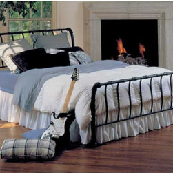 "Hillsdale - Janis Sleigh Bed - The Janis Bed is a smartly scaled metal sleigh bed featuring 1 1/8 inch strap spindles that wrap around the top rail. The side legs have a gentle bend to accent the sleigh design theme. The bed features a textured black finish and fully welded grills. The Janis Bed will shine in any decor. Features: -Textured black finish. -Welded grills. -Sleigh bed design. -Recommended care: Dust frequently using a clean, specially treated dusting cloth that will attract and hold dust particles. Do not use liquid or abrasive cleaners as they may damage the finish.. About Hillsdale House Furniture Located in Louisville, KY, Hillsdale House Furniture has produced an enormously popular collection of bedroom and accent furniture. Hillsdale House items are constructed of quality materials and offered at an affordable price. We are an authorized dealer of the full line of Hillsdale House furniture; if you can""t find a specific Hillsdale piece, give us a call!"