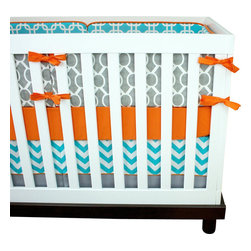 "Modified Tot - Baby Bedding Crib Set, Simply Modern - The perfect modern prints in a cheery palette of orange, aqua and gray. The three piece set includes bumpers with hand-stitched fabric ties and contrasting piping, a fitted sheet with elastic all the way around and a four-sided skirt with a 15"" drop. Bumpers are created in six separate pieces for easy transition to a toddler bed, they measure 1"" thick and 10"" high. All items are proudly made in the USA. All products are made to order."