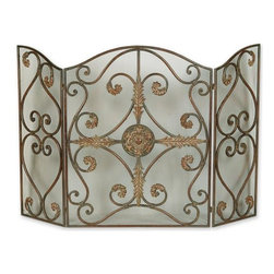 Uttermost - Jerrica Wrought Iron Fireplace Screen - This lovely fireplace screen is made of hand forged metal with wire mesh panels.