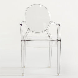 Kartell - Kartell Louis Ghost Chair - Crystal (Set of 2) - A comfortable armchair in transparent and colored polycarbonate in the Louis XV style, it is the quintessence of baroque revisited to dazzle, excite and captivate.  Louis Ghost is the most daring example in the world of injected polycarbonate in a single mould.  Despite its evanescent and crystalline appearance, Louis Ghost is stable and durable, shock and weather resistant and can also be stacked six high.  This article has great charm and considerable visual appeal and brings a touch of elegance and irony to any style of home or public area.  Manufactured by Kartell.