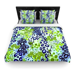 "Kess InHouse - Ebi Emporium ""Circular Persuasion Blue Green"" Aqua Turquoise Cotton Duvet Cover - Rest in comfort among this artistically inclined cotton blend duvet cover. This duvet cover is as light as a feather! You will be sure to be the envy of all of your guests with this aesthetically pleasing duvet. We highly recommend washing this as many times as you like as this material will not fade or lose comfort. Cotton blended, this duvet cover is not only beautiful and artistic but can be used year round with a duvet insert! Add our cotton shams to make your bed complete and looking stylish and artistic!"