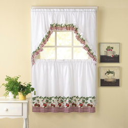 CHF Industries - CHF Industries Apple Blossom 36 in. Kitchen Curtain Set - Multicolor - 1Z44090YM - Shop for Curtains and Drapes from Hayneedle.com! Add some country fun to your kitchen with the CHF Industries Apple Blossom 36 in. Kitchen Curtain Set - Multicolor. This 70 percent polyester/30 percent cotton curtain set is sure to liven up your kitchen with its apple and floral motif. Machine washable for convenience.About CHF IndustriesCHF Industries based in New York is known for its home textile products and is the largest private-label supplier of retail-specific bedding products. CHF offers a diverse range of window products like panels valances shades kitchen tiers and even window hardware. CHF innovates with fashionable solutions such as energy-efficient interlined window panels taking steps to introduce organic products to protect the environment.