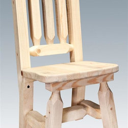 Montana Woodworks - 13 in. Children Log Chair - Sprayed with three coats of premium grade, clear lacquer. Sanded between coats. Hand crafted. Timbers and trim pieces. Sawn square for rustic timber frame design. Heirloom quality. Durable build, fit and finish. Protects the wood from ultraviolet radiation. Gives the required protection from wood splinters that your child needs. Made from American solid grown wood and solid lodge pole pine. Ready to finish. Made in USA. No assembly required. Seat height: 12 in.. Overall: 13 in. W x 14 in. D x 26 in. H (8 lbs.). Ready to finish. WarrantyGive your child the gift of a lifetime that he or she is sure to pass on for generations, perhaps even becoming a valued family heirloom. Imagine the delight on your child's face when he or she spots this diminutive chair. Sure to become your childs favorite chair whenever he or she isnt up running around as children like to do. Give your child the gift of a lifetime that he or she is sure to pass on for generations, perhaps even becoming a valued family heirloom.