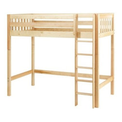 Jib Jab Twin Slat Loft Bed - Space is at a premium in small rooms, and the Jib Jab Twin Slat Loft Bed makes the most of it. Crafted with durable solid birch in a deep chestnut brown, light natural, or fresh white finish, this tall loft sends a cozy twin bed skyward while opening floor space that can be utilized as a storage, study, or play area. Bed features include a slatted headboard and footboard and an 11-inch guard rail to prevent nighttime falls. A straight ladder, which can be attached to the right or left side, is outfitted with deep, grooved steps for safer climbing.We take your family's safety seriously. That's why all of our bunk beds come with a bunkie board, slat pack, or metal grid support system. These provide complete mattress support and secure the mattress within the bunk bed frame. Please note: Bunk beds and loft beds are only to be used by children 6 years of age or older.