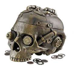 EttansPalace - Classic Gothic Steampunk Head Statue Jewelry Treasure Box/Gift Item - Celebrate the adventurous spirit of the age of Steampunk with our industrial age skeleton containment vessel that flips its Victorian skull lid to hold your vintage treasures! Fraught with a drill chuck, steam valve and intertwined gears, our creatively embellished designer resin work of decorative art boasts a faux oxidized brass finish for true authenticity.