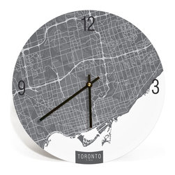 "ArtnWalls - TORONTO MAP ART Wall Clock - Unique Contemporary Art Wall clock - 11"" - Abstract Toronto Canada, map art - Features the streets of T-Dot."