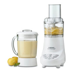 Cuisinart - Cuisinart BFP-703 SmartPower Duet Blender/Food Processor - BFP-703 - Shop for Blenders from Hayneedle.com! This powerful versatile Cuisinart BFP-703 SmartPower Duet Blender/Food Processor blends purees chops mixes and liquefies at the touch of a button. And its 7-speed motor is so powerful it crushes ice instantly. With touchpad controls for food processing and ice crushing this easy-wipe plastic blender has dishwasher safe parts including a 40 oz. glass jar with a dripless-pour spout stainless steel chopping blade and reversible slicing and shredding disc.Limited 3-year warrantyDimensions: 6.88L x 8W x 16.25H inchesAbout CuisinartOne of the most recognized names in cookware and kitchen products Cuisinart first became popular when introduced to the public by culinary experts Julia Child and James Beard. In 1973 the Cuisinart food processor revolutionized the way we create fine food and healthy dishes and since that time Cuisinart has continued its path of innovation. Under management by the Conair Corporation since 1989 Cuisinart is a universally celebrated name in kitchens across the globe. With a full-service product line including bakeware blenders coffeemakers cookware countertop appliances kitchen tools and much much more Cuisinart products are preferred by chefs and loved by consumers for durability ease of use superior quality and style.