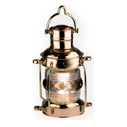 """Inviting Home - Anchor Oil Lantern - Anchor oil lantern 6"""" x 7-1/2"""" x 11-3/4""""H Anchor lantern features cast brass handle and slots; heavy copper sheet; molded name plaques; hand-blown glass; lamp oil burner...."""