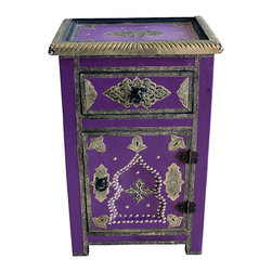 Badia Design Inc. - Moroccan Metal and Leather Cabinet, Purple - Colorful metal and leather cabinet made with stretch leather and silver metal buttons. This makes for a unique and colorful storage unit that can be used in any room in your home, apartment or office.