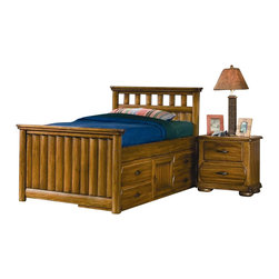 American Woodcrafters - Timberline 2 Pc Captains Bed w Nightstand Set - (Full) - Choose Size: Full. Timberline Collection. Bedroom set includes twin or full sized captain's bed and nightstand. Captain's bed includes headboard, footboard, bolt on rail pack and captains storage. Free slat pack included. Nightstand with 2 drawers. Mattress not included. Bed slats are shipped with product. Hardware has simulated nail heads at each end and is recessed into the drawer fronts. Wood drawer interiors. Dovetailing front and back. Veneer drawer bottoms. Center guided drawers. Drawer stops prevent drawers from being accidentally pulled from case. Dust-proofing on bottom drawers. Authentic strap hardware in a rustic metal finish. Selected solids and veneers. 1-Year manufacturer's warranty. Twin:. Total: 43 in. W x 81 in. D x 68 in. H (156.2 lbs.). Headboard: 45.75 in. W x 3 in. D x 45 in. H (33 lbs.). Footboard: 45.75 in. W x 3 in. D x 30 in. H (24.2 lbs.). Bolt on rail: 1 in. W x 77 in. D x 5.38 in. H (28.6 lbs.). Captains Storage: 76 in. W x 16.25 in. D x 17.75 in H (70.4 lbs.). Full:. Total: 43 in. W x 81 in. D x 68 in. H (176 lbs.). Headboard: 60.75 in. W x 3 in. D x 45 in. H (41.8 lbs.). Footboard: 60.75 in. W x 3 in. D x 30 in. H (35.2 lbs.). Bolt on rail: 1 in. W x 77 in. D x 5.38 in. H (28.6 lbs.). Captains storage: 76 in. W x 16.25 in. D x 17.75 in H (70.4 lbs.). Nightstand: 43 in. W x 81 in. D x 68 in. H (176 lbs.)
