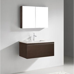"""Madeli - Madeli Venasca 36"""" Bathroom Vanity with Quartzstone Top - Walnut - Madeli brings together a team with 25 years of combined experience, the newest production technologies, and reliable availability of it's products. Featuring sleek sophisticated lines Madeli vanities are also created with contemporary finishes and materials. Some vanities also feature Blum soft-close hardware. Madeli also includes a Limited 1 Year Warranty on Glass Vessels, Basin, and Counter Tops. Sleek, modern and sophisticated, the Venasca Collection features a wall hung cabinet in a rich Walnut finish accented with decorative, polished chrome handles. A slight pull on the full length handles reveals spacious, full-extension, storage drawers with Blum soft-closing hardware. Add to this a luxurious polyurethane-protected finish and you end up with a stylish and functional piece worthy of being the centerpiece of your dream bathroom.Features Base vanity with Blum Soft Close hinge pull-out drawer and Blum Soft close side door, wall hung Walnut finish Polished Chrome finish handle 1-1/4""""H Quartzstone Countertops come in White or Soft Grey finish Quartzstone Countertops come with single faucet or 8"""" widespread faucet holes Ceramic undermount sink with overflow Faucet and drain are not included No backsplash Matching mirror and medicine cabinet available Limited 1 Year Warranty on Glass Vessels, Basin, and Counter Tops How to handle your counter Spec Sheet Installation Instructions"""