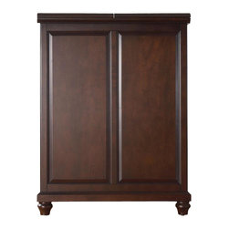 """Crosley Furniture - Cambridge Bar Cabinet in Mahogany - Beautiful Raised Panel Doors. Antique Brass Finish Hardware. Plenty of Room for Storing Barware & Spirits. Doubles as a Serving Station when Entertaining. Adjustable Levelers in Legs. Expands to 62 1/2"""" Wide when Open. Solid Hardwood & Veneer Construction. Front & back of bar have matching finish. 42in. H x 31.25in. W x 22in. D (150 lbs)Constructed of solid hardwood and wood veneers, this Expandable Bar Cabinet is designed for longevity. The beautiful raised panel doors provide the ultimate in style to dress up your home. The doors open and top folds out to double the size of your entertaining / serving area. Inside the doors, you will find plentiful storage space for spirits, glassware, and a host of other bar items. The center cabinet features 16 bottle wine storage, utility drawer, hanging stemware storage, and extra space for a variety of other barware."""