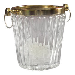 "Godinger Silver - Brass And Crystal Bucket - With this ice bucket you can now serve your champagne or wine ice cold in elegance. Simply fill it up with some ice and place your wine bottles in it and it will surely keep it cool! This bucket features a crystal body, gold rim and silver handles to enhance some beauty. Classy  Measures approx: 7.5"" diameter x 8.5"" high."