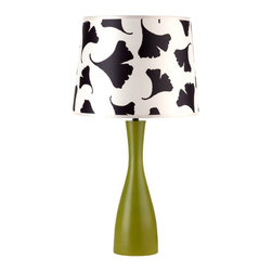 """Lights Up - Asian Lights Up! Black Ginko Leaf Shade Grass Oscar Table Lamp - This vibrant table lamp from Lights Up! and designer Rachel Simon is a fun and lively way to bring brightness to a room. The Oscar base features a grass finish and an hourglass shape. The artistic black ginko leaf shade is eco-friendly and is made from 100-percent recycled plastics and is printed using water-based inks. Lights Up! by Rachel Simon. Grass finish base. Black ginko leaf printed shade. Takes one 100 watt bulb (not included). Shade is 11"""" across top 13"""" across bottom and 10"""" high. 24"""" high.  Lights Up! by Rachel Simon.   Grass finish base.   Black ginko leaf printed shade.   Takes one 100 watt bulb (not included).   Shade is 11"""" across top 13"""" across bottom and 10"""" high.   24"""" high."""
