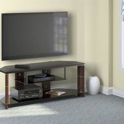 Bush - TV Stand in Prestige Cherry Finish - Large and angled top. Drop down shelf. Large bottom shelf. Streamlined elliptical columns. Fixed, tempered and tinted glass shelves. Open shelving. Rear cable routing and cable management. Unique design. Decorative metal rings. Clipped back corner. Metal frame. Compatible with StabiliBar TV safety brace. Suspended center glass shelf. Accommodates most 60 in. flat panel TVs up to 154 lbs.. Wipe clean. Warranty: One year. Made from particleboard and laminates. 57.99 in. W x 20 in. D x 20.59 in. H (90 lbs.)Angled to fit almost anywhere, the Bush Furniture Segments Collection Prestige Cherry TV Stand is stylish and practical. Accommodates standard depth audio components, center channel speaker, and sound bar.
