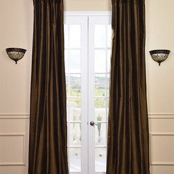 Chocolate Brown Thai Silk Curtains - Thai Silk is weaved using 2 different yarns of dupioni silk & thai silk. This blend makes for a richer & far superior fabric creating a distinctive texture that's smoother than our Textured Dupioni Silk curtains and of the highest in quality.