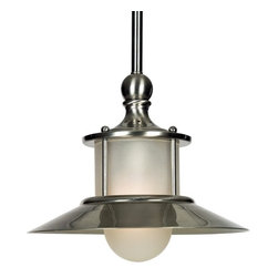 Quoizel Lighting - Maritime Mini-Pendant - NA1510BN - Dream of sailing the open waters from the comfort of your own kitchen with this sleek, mini-pendant stylistically influenced by the seafaring life. Polished in a crisp nickel finish and with a protruding globe shade of acid-etched glass, the fixture measures almost four feet long and provides ample, focused task lighting. Serves as a functional and aesthetic match for the kitchen, either over a prep island or eating nook. Includes three 12-inch stem segments. Takes (1) 100-watt incandescent A19 bulb(s). Bulb(s) sold separately. ETL listed. Dry location rated.