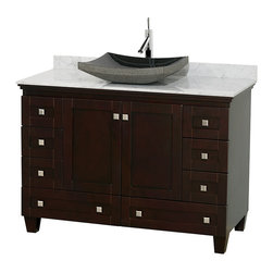 "Wyndham Collection - 48"" Acclaim Single Vanity w/ White Carrera Marble Top & Altair Black Granite Sin - Sublimely linking traditional and modern design aesthetics, and part of the exclusive Wyndham Collection Designer Series by Christopher Grubb, the Acclaim Vanity is at home in almost every bathroom decor. This solid oak vanity blends the simple lines of traditional design with modern elements like beautiful overmount sinks and brushed chrome hardware, resulting in a timeless piece of bathroom furniture. The Acclaim comes with a White Carrera or Ivory marble counter, a choice of sinks, and matching mirrors. Featuring soft close door hinges and drawer glides, you'll never hear a noisy door again! Meticulously finished with brushed chrome hardware, the attention to detail on this beautiful vanity is second to none and is sure to be envy of your friends and neighbors"