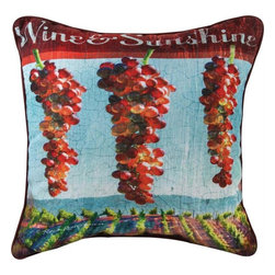 Manual - Pair of Wine and Sunshine Print Throw Pillows - This pair of 18 inch by 18 inch cotton / polyester blend throw pillows adds a wonderful accent to your home decor. The pillows feature the same print on both front and back, a vineyard and grapes scene, with 'Wine Sunshine' printed at the top. They have 100% polyester stuffing. These pillows are crafted with pride in the Blue Ridge Mountains of North Carolina, and add a quality accent to your home. Original artwork by Patrick Reid O'Brien. They make great gifts for wine lovers.