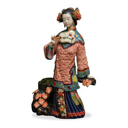 China Furniture and Arts - Chinese Porcelain Doll - With vivid facial expression and hand gesture, this porcelain figurine in early Qing (1644) costume depicts a young lady in the company of autumn maple.