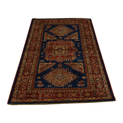 1800-Get-A-Rug - Hand Knotted Geometric Design 100% Wool Super Kazak Oriental Rug Sh16711 - Our Tribal & Geometric hand knotted rug collection, consists of classic rugs woven with geometric patterns based on traditional tribal motifs. You will find Kazak rugs and flat-woven Kilims with centuries-old classic Turkish, Persian, Caucasian and Armenian patterns. The collection also includes the antique, finely-woven Serapi Heriz, the Mamluk Afghan, and the traditional village Persian rug.