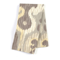 "Gray & Yellow Giant Ikat Custom Napkin Set - Our Custom Napkins are sure to round out the perfect table setting""""_whether you're looking to liven up the kitchen or wow your next dinner party. We love it in this oversized ikat that makes a big (literally!) statement in soft shades of gray & light yellow on luxurious linen."