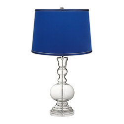Color Plus - Clear Fillable - Satin Dark Blue Shade Apothecary Lamp - This apothecary-style Clear Fillable designer glass table lamp features a stylish dark blue satin drum shade. The apothecary style glass table lamp offers a wonderful style accent. The clear glass base can be filled with your favorite collectible - from seashells to glass beads, the possibilities are endless! The design features a clear lucite base and is topped with a stylish dark blue satin drum shade. Lamp base U.S. Patent # 8,899,798.