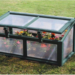 Riverstone Industries - Riverstone Industries Genesis 3 x 3 ft. Cold Frame Greenhouse - CF-33-G - Shop for Sheds and Storage from Hayneedle.com! Ensure your flowers and vegetables are going strong even before the last frost with the Riverstone Industries Genesis 3 x 3 ft. Cold Frame Greenhouse. This sturdy and portable cold frame acts like a miniature greenhouse by protecting seedlings and new growth from frost as well as from insects and critters like deer squirrels and rabbits. Its dual-access lids help you easily tend to the plants inside without too much reaching and their locking openers can prop the lids for better ventilation. The whole unit assembles easily in less than half an hour and can be held fast with ordinary tent spikes; then when no longer needed the frame can be broken down for convenient storage. Its 19-inch tall peak is one of the highest on the market letting you protect your new growth longer. The unibody design with rich forest-green frame and opaque windows is as functional as it is attractive drawing and holding heat in while keeping harmful UV rays out. And the metal frame won't rust so it will continue looking new for years. About Riverstone IndustriesRiverstone Industries prides itself on producing high-quality environmentally and economically conscientious products for the masses. They believe that their green product lines will enable everyone to help forge a brighter future for themselves and their world. By creating merchandise that is easy to assemble backed by confident warranties and supported by top-notch customer service they have built and maintained outstanding quality that has resulted in customer satisfaction. Over the years Riverstone Industries has also made a conscious effort to move its design and manufacturing programs to the United States helping secure domestic jobs and a stronger economic environment.