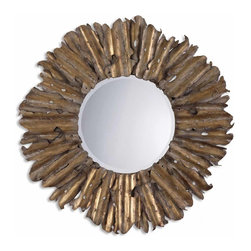 "Grace Feyock - Grace Feyock Hemani Round Mirror X-B 24721 - The decorative hand forged and hand hammered metal frame has an antiqued gold leaf finish with burnished edges and a light gray wash. Mirror has a generous 1 1/4"" bevel."
