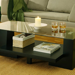 Furniture of America - Furniture of America Contours Leveled Coffee Table - This modern coffee table is crafted with a durable,thick glass top to produce a lightweight,casual appearance. Its two side stands act as a support for the top panel. The table is built with solid construction using glass and wood veneer.