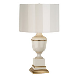 Robert Abbey - Annika Accent Lamp - Here's a trophy for all you traditional-with-a-twist enthusiasts to take home. This stunning accent lamp features a trophy-shaped base in your choice of seven lacquered finishes trimmed in brass. And the gold-lined parchment drum shade is painted to match the base's color and luster.