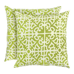 None - 17-inch Outdoor Grass Square Accent Pillow (Set of 2) - Add a touch of contemporary style and comfort to your outdoor furnishings with these accent pillows. These pillows are overstuffed with a soft 100-percent polyester fill and have a durable weather resistant and UV protected cover.