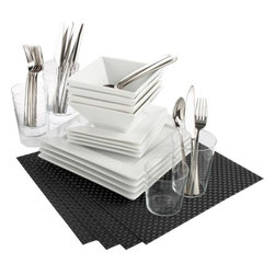 42-piece fab four carbon dinner set - four top. 42-piece dinner for four, just 99 bucks plus change. Includes our top four tabletoppers with placemats in a neat carbon sheen. Also the option to buy white square dinnerware, marta barware, party flatware or basketweave placemats à la carte.- Durable porcelain dinnerware is dishwasher- and microwave-safe- Micro-thin glasses are generously sized and dishwasher-safe- 18/8 polished stainless steel flatware is dishwasher-safe; after rinse cycle, hand drying is recommended to prevent discoloration and film build-up- Waterproof PVC placemats are fade-resistant for indoor or outdoor use- Made in China- See dimensions below