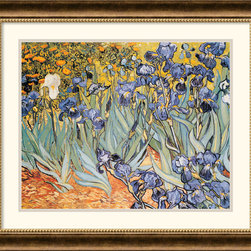"""Amanti Art - Irises in the Garden Framed Print by Vincent Van Gogh - One of the most famous works by the artist, Irises"""" reflects Van Gogh's poignant expressionism where vibrant color and rich sharp imagery symbolize deep emotional undercurrents."""