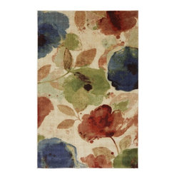 Mohawk Home - Estate Watercolor Floral Multi Floral Leaves 8' x 10' Mohawk Rug (11684) - Printed on the same machines that manufacture one of the world