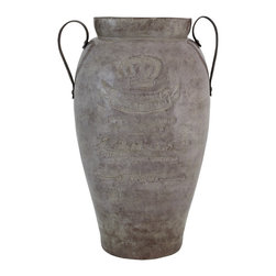 """Selectives - 21-Inch Tall Athalos Vase With Side Handles - Crafted from terracota, this aged rustic finish 21"""" tall vase will make a vintage statement on its own.  Fill this with fresh or faux botanicals and branches for added appeal.    It features earthlike metal handles on both sides making it easy to move around."""