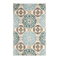 Safavieh - Twiggy Hand Tufted Rug, Beige / Blue 6' X 9' - Construction Method: Hand Tufted. Country of Origin: India. Care Instructions: Vacuum Regularly To Prevent Dust And Crumbs From Settling Into The Roots Of The Fibers. Avoid Direct And Continuous Exposure To Sunlight. Use Rug Protectors Under The Legs Of Heavy Furniture To Avoid Flattening Piles. Do Not Pull Loose Ends; Clip Them With Scissors To Remove. Turn Carpet Occasionally To Equalize Wear. Remove Spills Immediately. Safavieh's artistry is vividly displayed in the Wyndham collection with designs ranging from contemporary florals to traditional global motifs. Each richly-hued rug is hand-tufted by master weavers in India of top quality wool. Several designs recreate the one-of-a-kind look of fashionable over-dyed antique rugs using a special multi-colored yarn that is meticulously colored using ages-old pot dyeing techniques. After the dye is carefully applied to each strand of wool, touches of organic viscose are added for soft silky luster as special highlights accents.