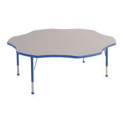 ECR4KIDS - ECR4KIDS Flower Adjustable Activity Table - ELR-14102-GRD-TB - Shop for Chairs from Hayneedle.com! Designed to seat up to six children the Early Childhood Resources Flower Adjustable Activity Table will make a fun and practical addition to your classroom or daycare. Because of the unique flower shape children with shorter arms should be able to reach art supplies and learning materials in the center of the table without disturbing their neighbors. Up to 6 children can sit hear comfortably. This durable table is made with thick recycled particleboard and is laminated on both sides which provides a stain-resistant and easy-to-clean surface. The corners are rounded for safety and the smooth edge banding is available in your choice of popular kid-friendly colors. This safe non-toxic activity table will not fade or discolor. The adjustable metal legs are powder-coated on top and chrome-plated on the bottom with matching ball glides for feet. The table can also be adjusted in height to fit children of a specific age or grade. The table adjusts 15-23 inches high or adjusts 19-30 inches high. Both table options carry a seven-year manufacturer's warranty. Chairs are sold separately. Adult assembly is required. Tabletop Details: Gray laminate tabletop is laminated on both sides and measures 1.125 inches thick. Table substructure is made from medium-density particleboard that is at least 90% recycled (minimum 4% post-consumer balance pre-consumer). Bright color banding is available in a variety of popular classroom colors. Color banding grips into the tabletop edges and is pinned in place every 6-8 inches with recessed nails to ensure that the banding remains firmly in place. Color banding is made from PET and contains no phthalates. Rounded corners for extra safety. EPP certified CARB compliant and may contribute to U.S. Green Building Council's LEED Credits MR 4.1 and 4.2. Leg Details: Durable powder-coated paint on upper leg. Color matches the banding. Chrome-pla