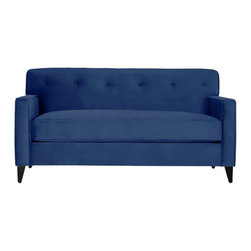 Apt2B - Harrison Apartment Size Sofa, Blueberry - Every room needs a retro flair and the Harrison won't disappoint. This tight back tufted sofa keeps a clean silhouette while still being comfortable. Perfect for a small space because it visually doesn't take up too much space. Each piece is expertly handmade to order in the USA and takes around 2-3 weeks in production. Features a solid hardwood frame and upholstered in stain resistant smooth microfiber fabric.