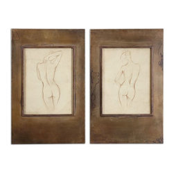 Uttermost - Bronze Figures Art Set of 2 - Plated, oxidized, golden bronze frames with heavy antiquing stain accent this artwork.