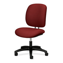 Hon - ComforTask Mid-Back Work Chair - Look at you, zipping through work tasks on this functional, sturdy seat. The seat and back cushions are covered in burgundy fabric, the seat raises and lowers for comfort and the five-wheeled base keeps you zipping without tipping.