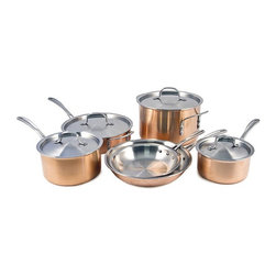 Calphalon - Calphalon Tri-Ply Copper 10-Piece Cookware Set - T10 - Shop for Cookware Sets from Hayneedle.com! Your style can be old-world provincial or food channel chic and you'll still be able to find a place for the Calphalon Tri-Ply Copper 10-Piece Cookware Set. Each pan and pot has a body of copper and aluminum giving you maximum heat distribution with rugged durability. The flared sides are more durable and give you greater control over pouring while the all-metal design is safe for the oven broiler and even the dishwasher. You can cook like a pro or at least look like it with this appealing high-quality set.About CalphalonCalphalon's mission is to be the culinary authority in kitchenwares enhancing the home chef's food experience during planning prep cooking baking and serving. Based in Toledo Ohio Calphalon is a leading manufacturer of professional quality cookware cutlery bakeware and kitchen accessories for the home chef. Calphalon is a Newell-Rubbermaid company.Calphalon's goal is to give you the home chef all the tools you need to realize your highest potential in the kitchen. From your holiday roasting pan to your everyday fry pan count on Calphalon to be your culinary partner - day in and day out for breakfast lunch and dinner for a lifetime.
