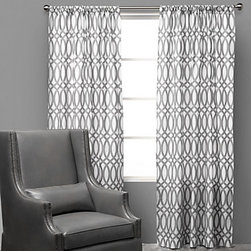 Geo Panels, Steel - Add our lively Steel and White Geo drapery panels to a room for a definitive bold graphic pattern. Exclusive to Z Gallerie, the graphic link pattern is printed on sleek luxurious 300 thread count cotton sateen, and the unlined panels are easy to hang with a rod pocket opening. Available in two lengths, 54 inches wide by 84 inches long and 54 inches wide by 96 inches long. Each panel sold separately. Care: Machine wash in cold water on gentle cycle, with non-chlorine bleach when needed. Tumble dry low & remove promptly. Iron on low heat.