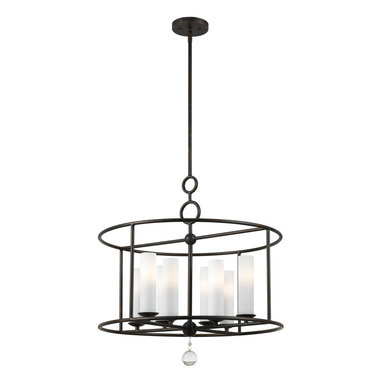 Cameron Chandelier by Crystorama - Cameron Chandelier features tall glass lamps with a round frame and an english bronze finish. Eight 60-watt, 120 volt B10 candelabra base incandescent bulbs are required, but not included. Dimensions: 24W x 24.75H.
