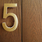 "Luxello - Modern Brass House Address Numbers - The Modern Brass LED House Numbers in 5"" inch are a modern series of architectural address numbers numbers and letters finished in a natural anodized brass colors. The 5"" Brass numbers are a versatile number sign system for residential houses as well as commercial buildings. The lighted Brass Number signs are available with a White or Amber backlight."
