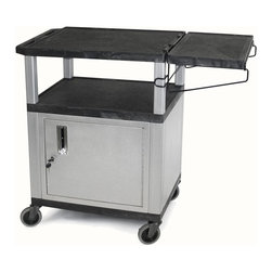 H. Wilson - Utility Coffee Cart w Side Shelf - Includes locking storage cabinet. Side shelf for extra serving space. For 4 in. casters two with locking brake for easy mobility. Made from plastic that will never chip, warp, scratch, or dent. Shelf: 12 in. W x 18 in. H. Overall: 24 in. L x 18 in. W x 34 in. H. Warranty. Assembly Instructions