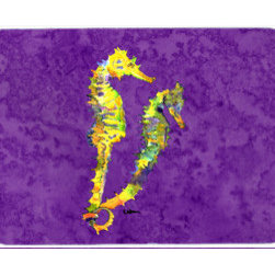 Caroline's Treasures - Seahorse Kitchen Or Bath Mat 24X36 - Kitchen / Bath Mat 24x36 - 24 inches by 36 inches. Permanently dyed and fade resistant. Great for the Kitchen, Bath, outside the hot tub or just in the door from the swimming pool.    Use a garden hose or power washer to chase the dirt off of the mat.  Do not scrub with a brush.  Use the Vacuum on floor setting.  Made in the USA.  Clean stain with a cleaner that does not produce suds.