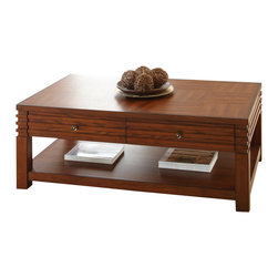 """Steve Silver Furniture - Steve Silver Lambert 3-Piece Coffee Table Set in Cherry - Decorative ridges elevate the traditional style of the Lambert Collection to a uniquely modern decorating option. The Lambert cocktail table stands 18"""" high, with a spacious 48"""" x 28"""" parquet look top, two convenient storage drawers, and a bottom shelf. This impressive all wood-Piece complements the Lambert End table and sofa table."""