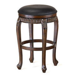 Ballard Designs - Raleigh Swivel Backless Barstool & Swivel Backless Counter Stool - Richly carved details on the skirt and legs give our Raleigh Swivel Stool an elegant, dressy look. Crafted of hardwood with graceful legs and smooth swivel seat covered in soft black leather. Distressed Cherry finish with gold highlights.