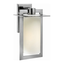 """Hinkley - Contemporary Hinkley Colfax 15 1/4"""" High Steel Outdoor Wall Light - This chic medium-size geometric outdoor wall light features intersecting planes of solid aluminum in a sleek polished stainless steel finish. An inviting etched opal glass cylinder diffuses the glow from a single bulb and enhances the handsome look. Attaches to the wall with a matching rectangular back plate. A beautiful fixture from Hinkley outdoor lighting. Sleek medium-size outdoor wall light. Polished stainless steel finish. Solid stainless steel construction. Etched opal glass cylinder. Includes one 100 watt bulb. 7 1/2"""" wide. 15 1/4"""" high.   Sleek medium-size outdoor wall light.  Polished stainless steel finish.  Solid stainless steel construction.  Etched opal glass cylinder.  Includes one 100 watt bulb.  7 1/2"""" wide.  15 1/4"""" high."""